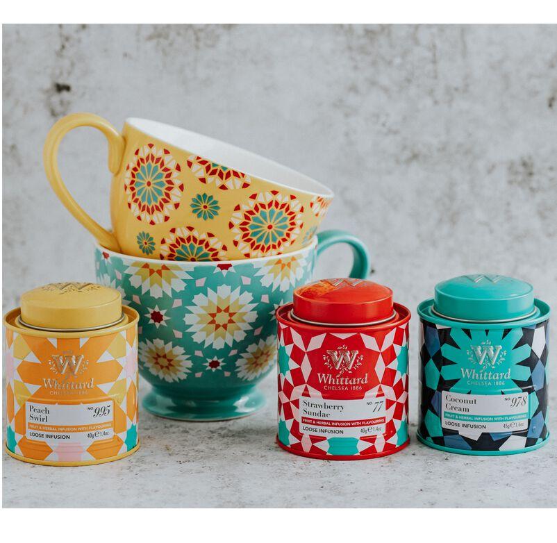 Strawberry Sundae, Peach Swirl and Coconut Cream Mini Caddies with Iris Mugs