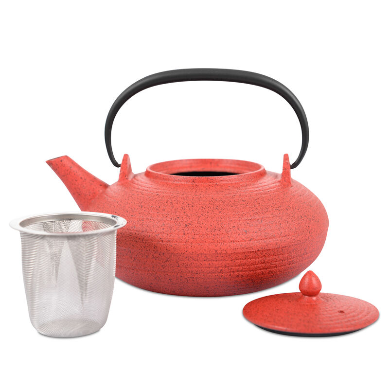 Japanese Tetsubin Red Cast Iron Teapot