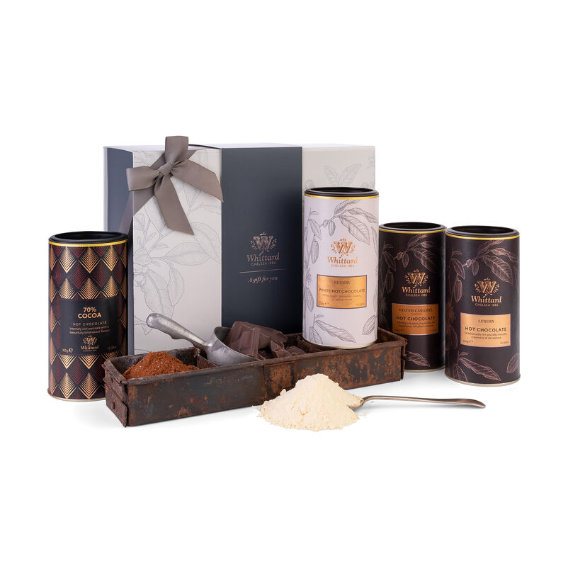 Th Hot Chocolate Favourites Gift Box with Luxury, Rocky Road, 70% Cocoa and Luxury White Hot Chocolates