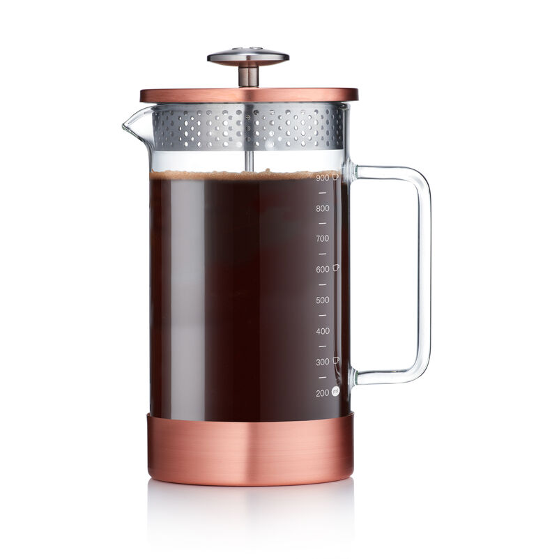 Barista & Co Core Coffee Pres 8-Cup - Copper with coffee