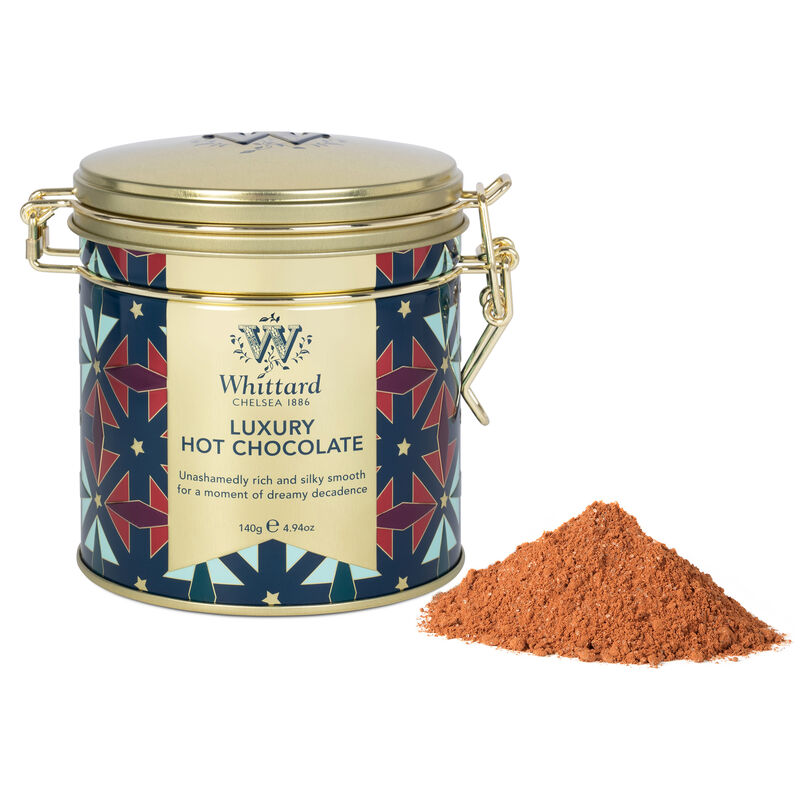 Our Luxury Hot Chocolate has had a festive make over, enjoy our much loved hot choc this Christmas in a beautiful art deco inspired clip top tin.