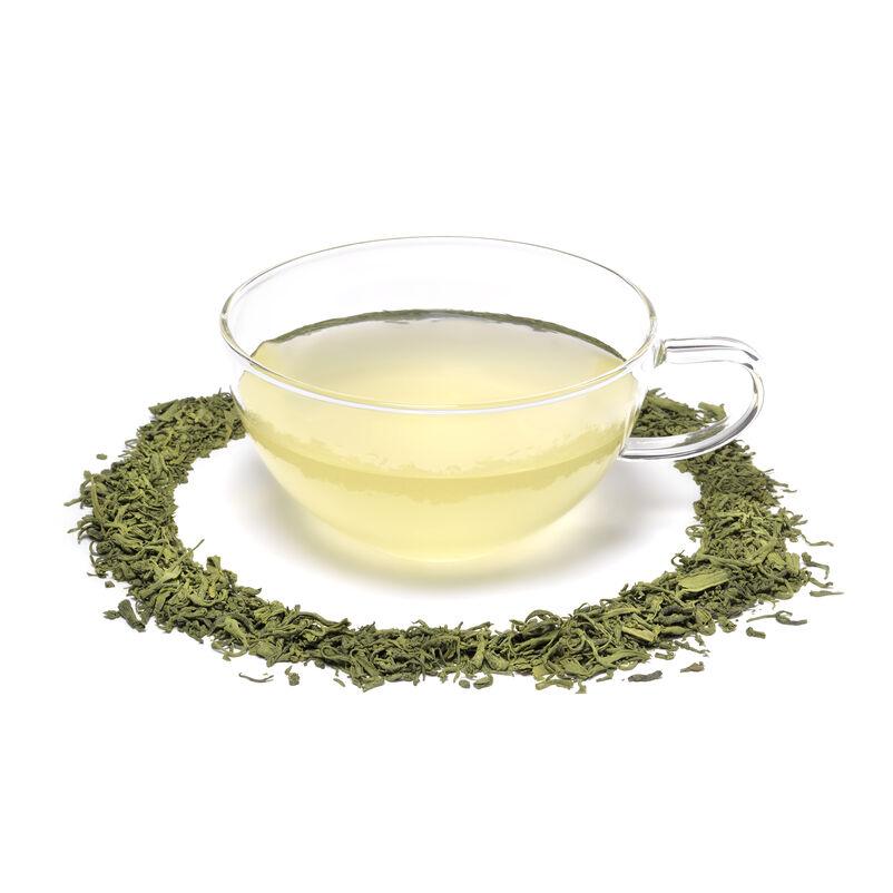 Matcha Guricha Loose Tea in mug with tea circle