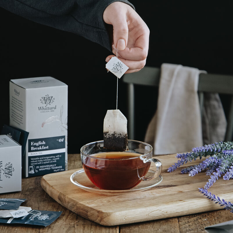English Breakfast Teabag being removed from mug