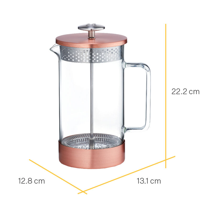 Barista & Co Core Coffee Pres 8-Cup - Copper with dimensions