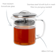 Greenwich Teapot has 400ml capacity, is made from borosilicate glass and has a stainless steel lid