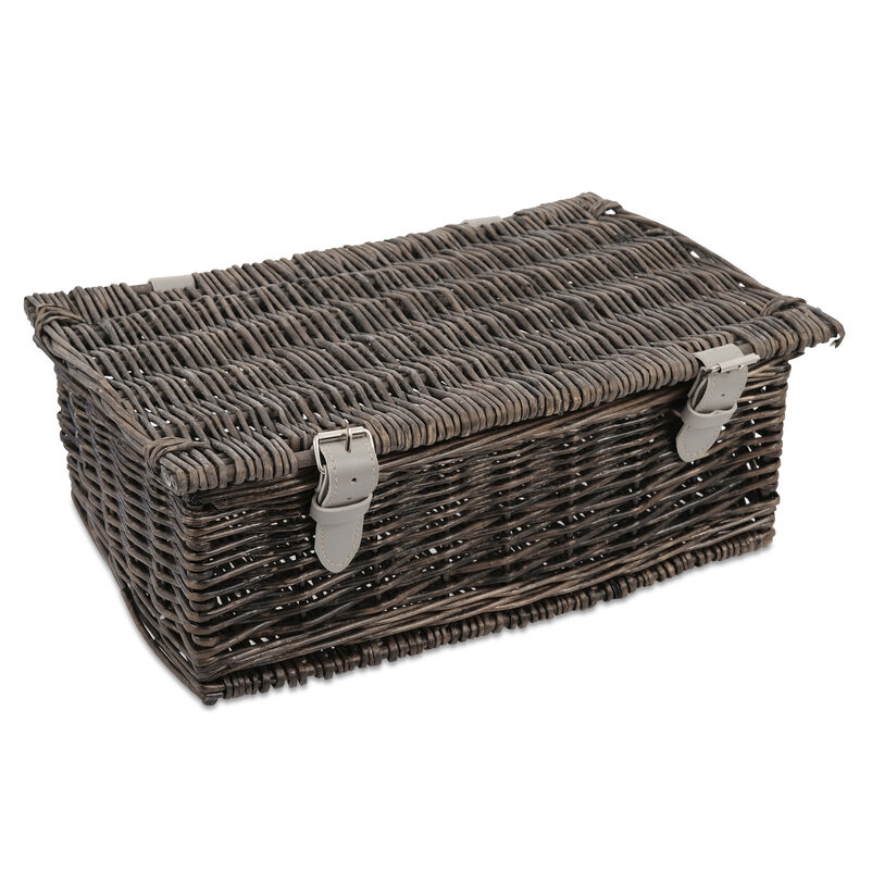 "14"" Grey Wicker Hamper"