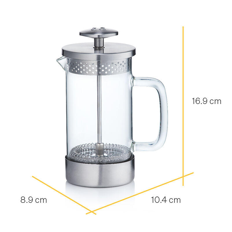 Barista & Co Chrome 3-Cup Cafetiere with dimensions