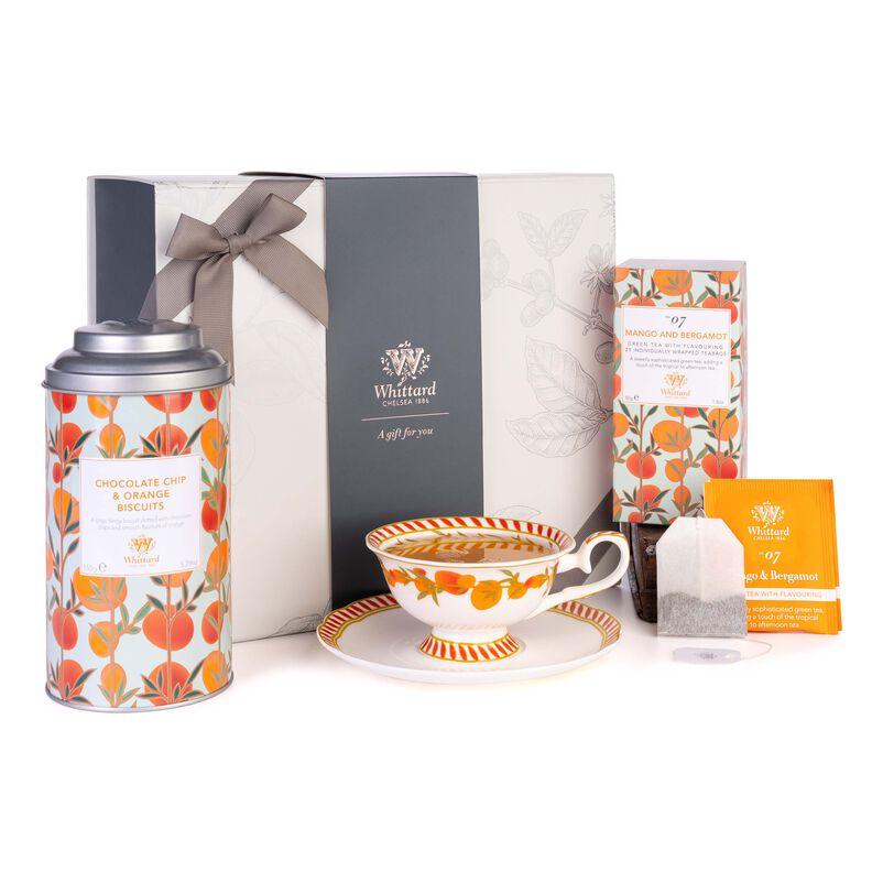 Tea Discoveries Tea Gift Set with Tea Cup & Saucer, Chocolate Orange Biscuits and Mango & Bergamot Teabags