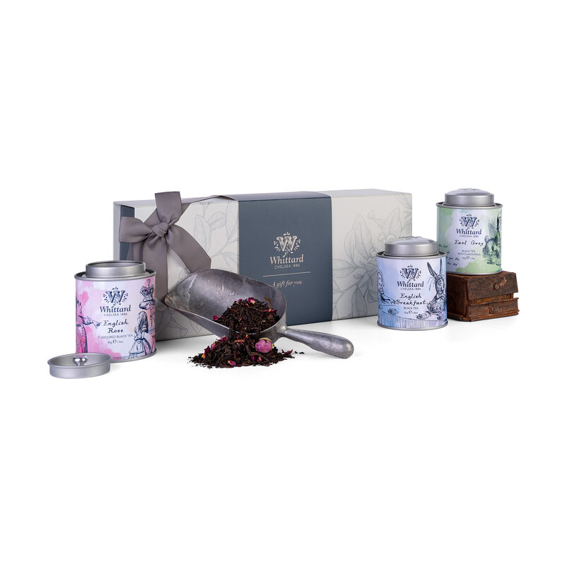 Alice in Wonderland Mini Caddy Gift Box with three loose tea mini caddies