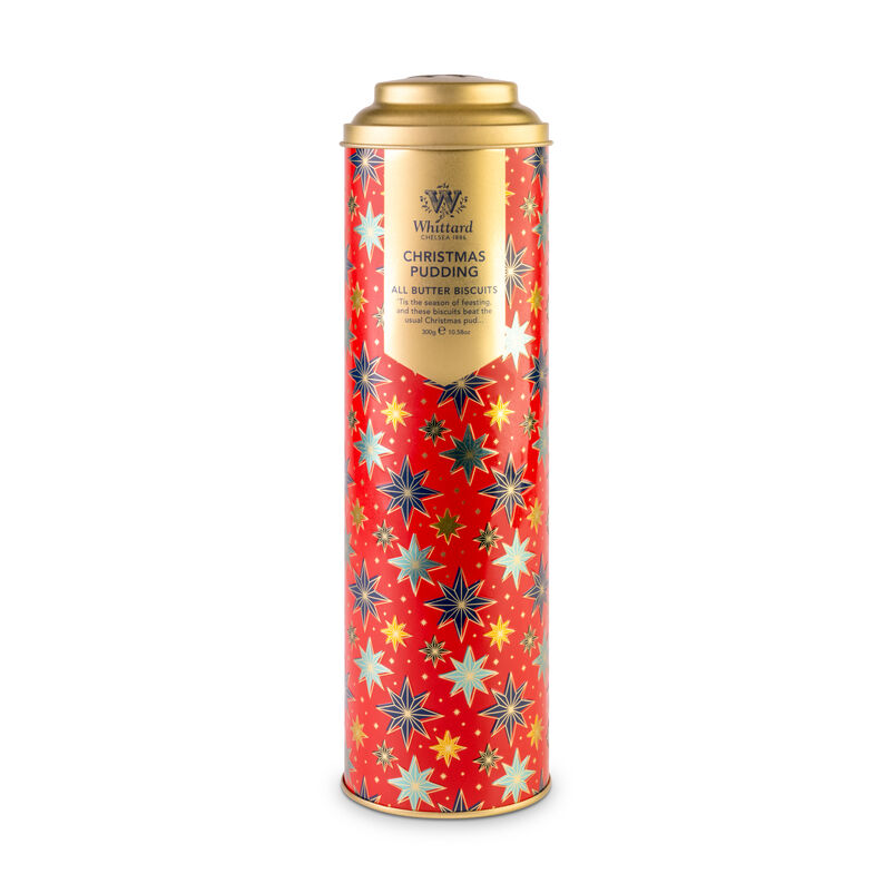 Christmas Pudding Biscuits in tall red tin