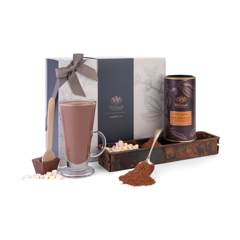 Th Salted Caramel Gift Box with Salted Caramel Hot Chocolate, Glass Mug and Chocolate Spoon