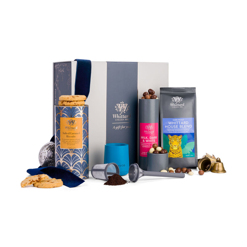 The Just Brew It Coffee Gift Box styled for Christmas