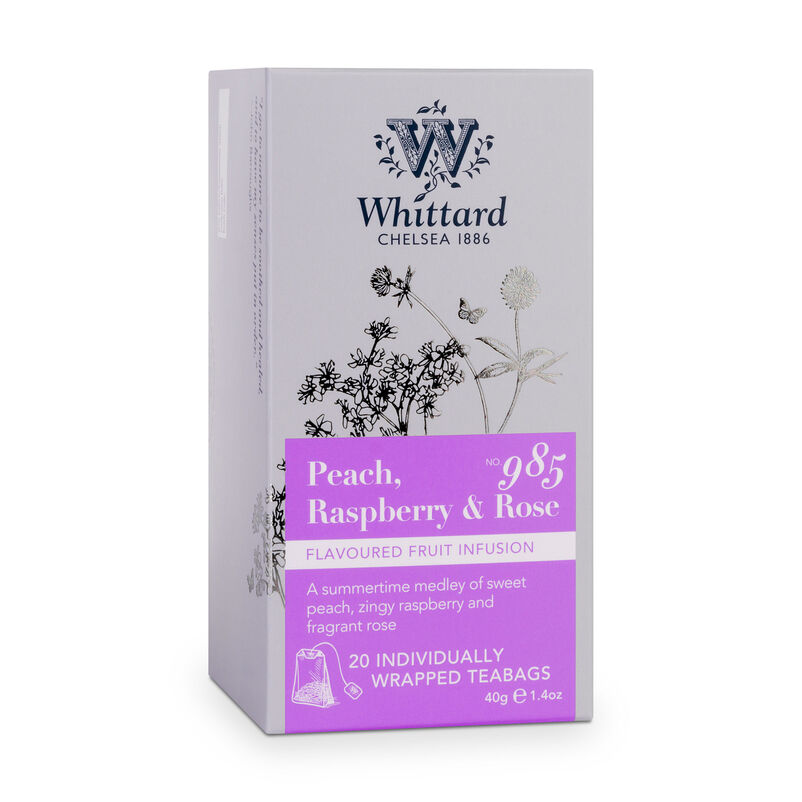 Box of Peach, Raspberry & Rose Individually Wrapped Teabags