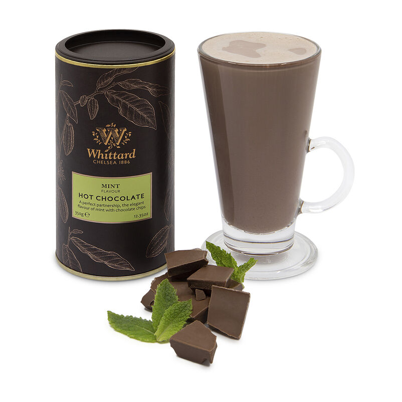 Mint Flavour Hot Chocolate with chocolate chunks and mint buds
