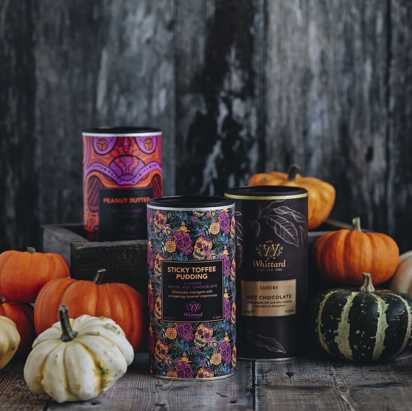 Peanut Butter Flavour Hot Chocolate with pumpkins