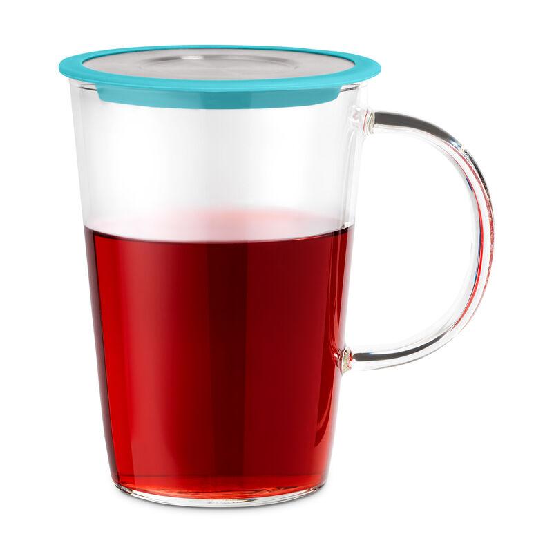 Teal Glass Pao Infuser Mug with tea