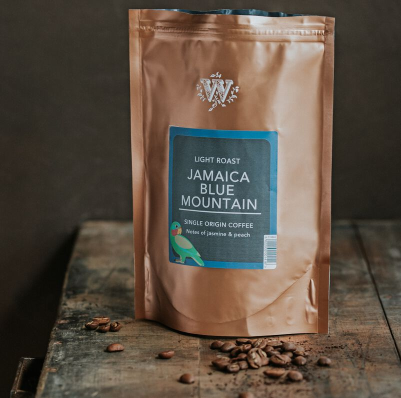 Jamaica Blue Mountain Loose Coffee Pouch on table
