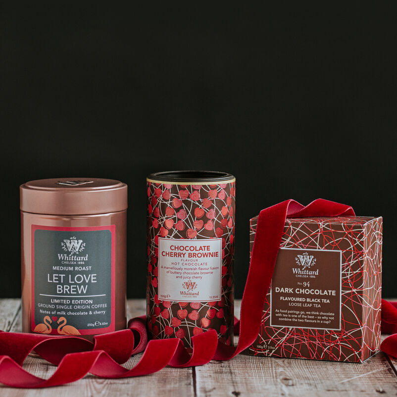 Valentines Limited Edition Trio of Let Love Brew Coffee, Chocolate Cherry Brownie Hot Chocolate and Dark Chocolate Tea