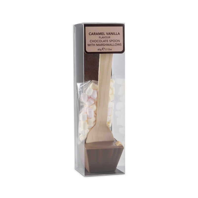 Caramel Bourbon Vanilla Flavour Chocolate Spoon with Mini Marshmallows