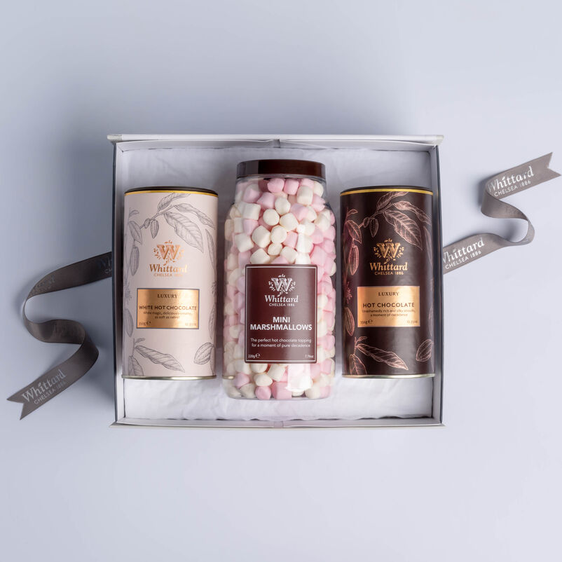 Luxury Hot Chocolate Gift Box with Luxury, Luxury White Hot Chocolates and Mini Marshmallows in box