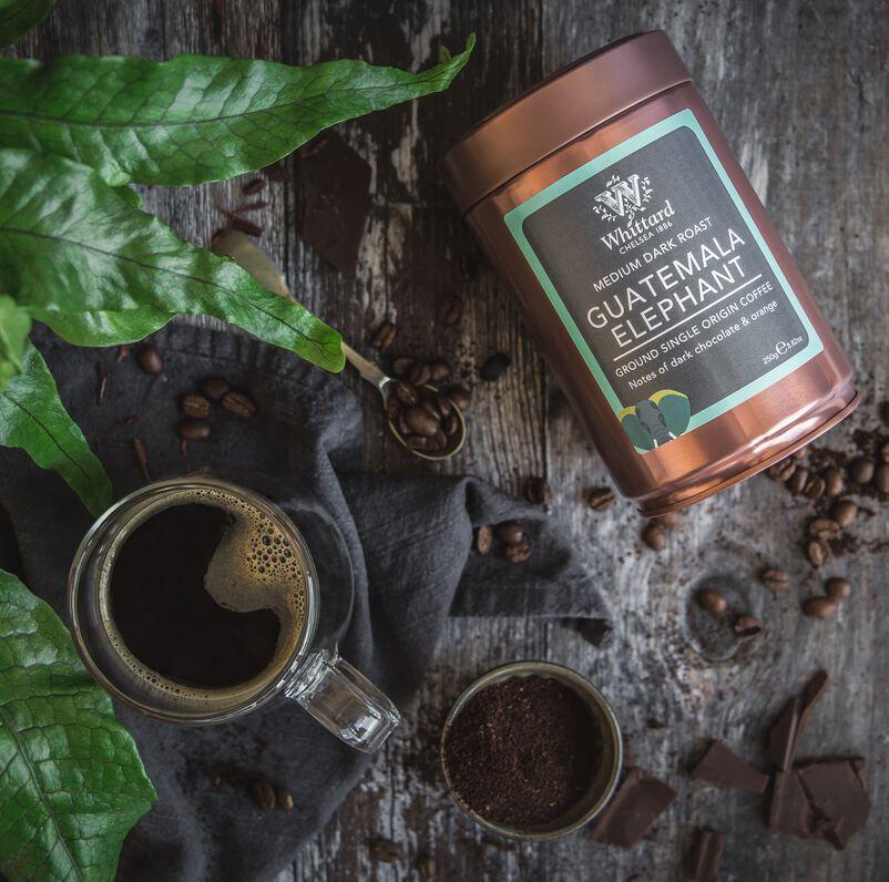 Guatemala Elephant Ground Coffee Caddy with Coffee in Mug