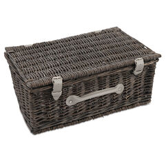 "18"" Grey Wicker Hamper"