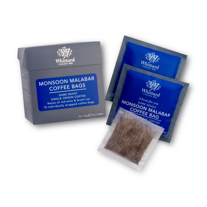 Monsoon Malabar Coffee Bags with Coffee Bag and wrapper