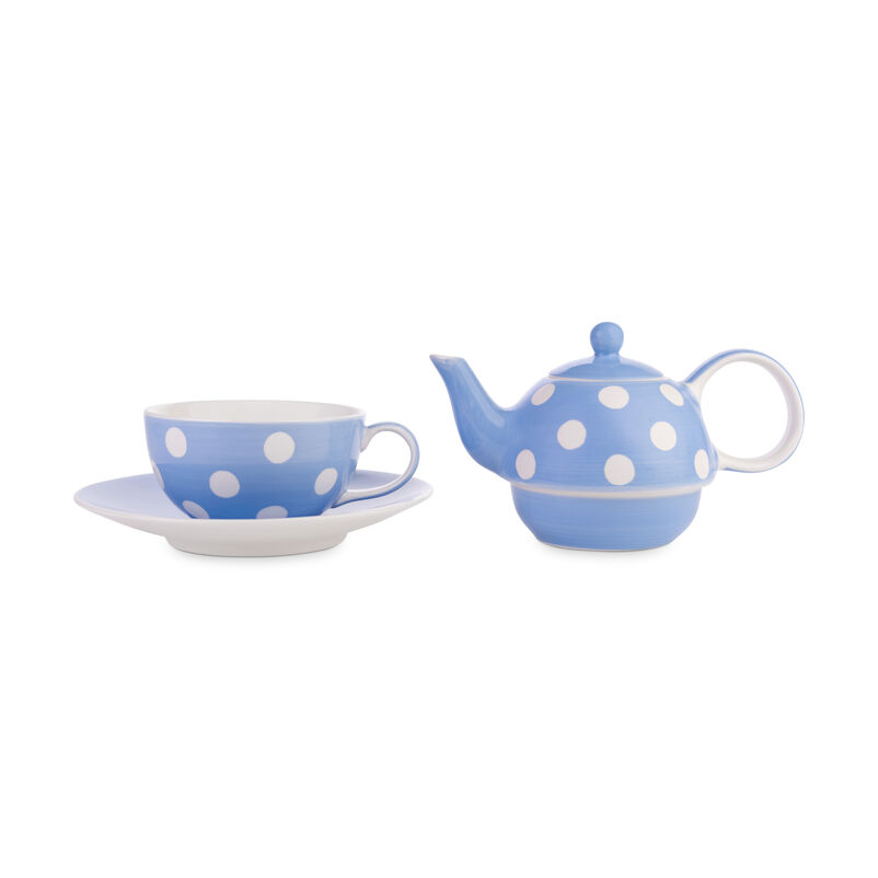 Florence Cornflower Blue Tea-for-One with separate teacup and teapot