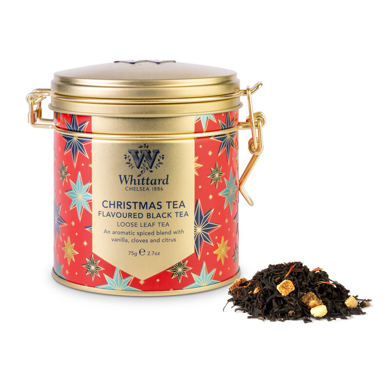Christmas Tea Clip Top Tin with tea outside