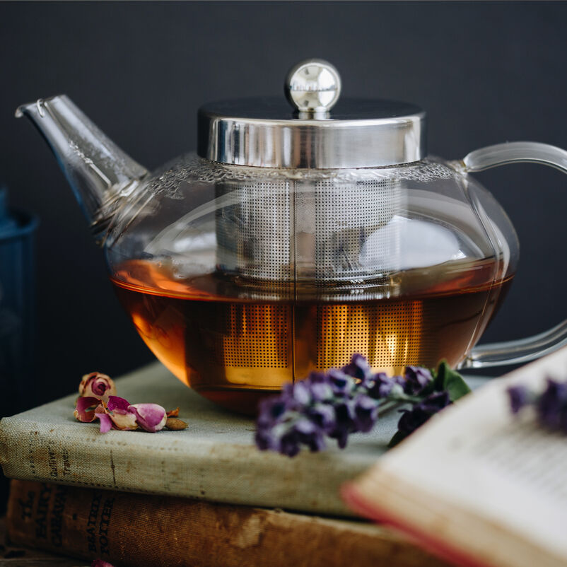 Pimlico Glass Teapot with Infuser with tea brewing on table