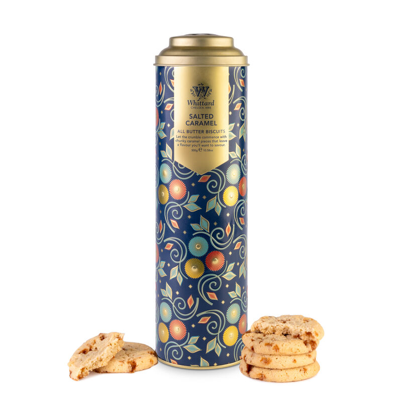 Salted Caramel All Butter Biscuits in Tall Blue Tin with biscuits