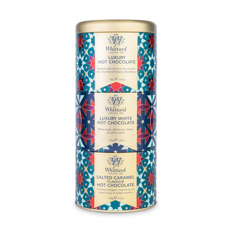 Give the gift of chocolate this Christmas with classic Luxury, Luxury White and decadent Salted Caramel hot chocolate stacked together in a beautiful tin.