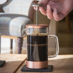 Copper Coffee Press with coffee
