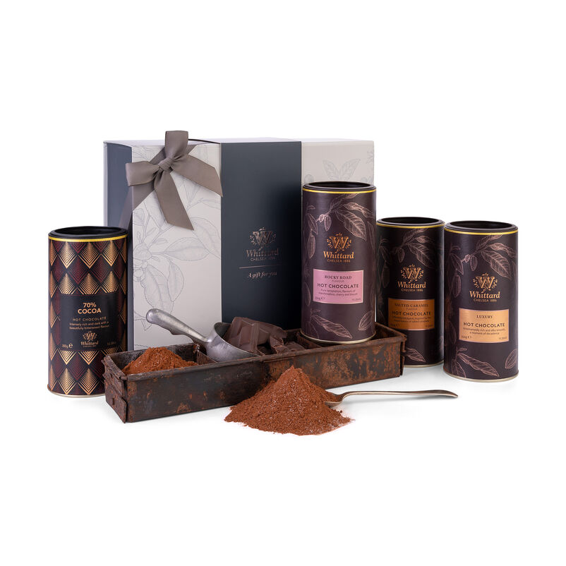 The Milk & Dark Hot Chocolate Gift Box with Luxury, Salted Caramel, 70% Cocoa and Rocky Road Hot Chocolates