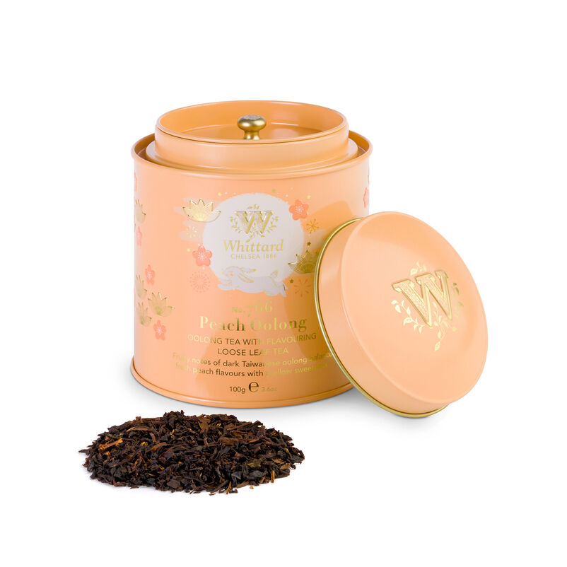 Mid Autumn Festival Peach Oolong Caddy with tea and lid off