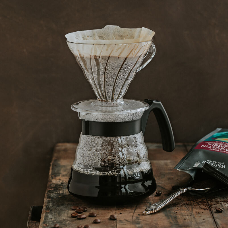 Hario V60 Craft Coffee Maker with coffee brewing