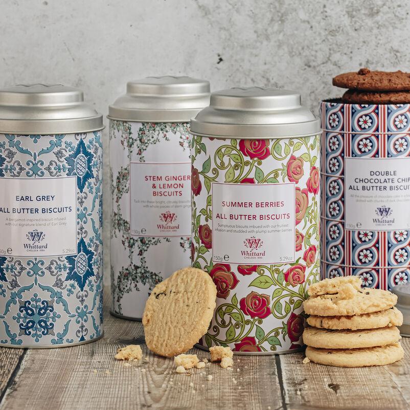 An arrangement of biscuits and biscuit tins