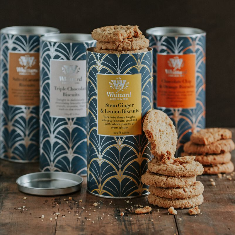 Stem Ginger & Lemon Biscuits with Triple Chocolate, Chocolate Chip & Orange and Salted Caramel Biscuits on table