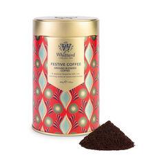 Ground Festive Coffee Tin with ground coffee outside tin