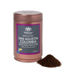 san agustin colombia ground coffee caddy, coffee, espresso, coffee flavours, caddy, copper caddy, ground coffee