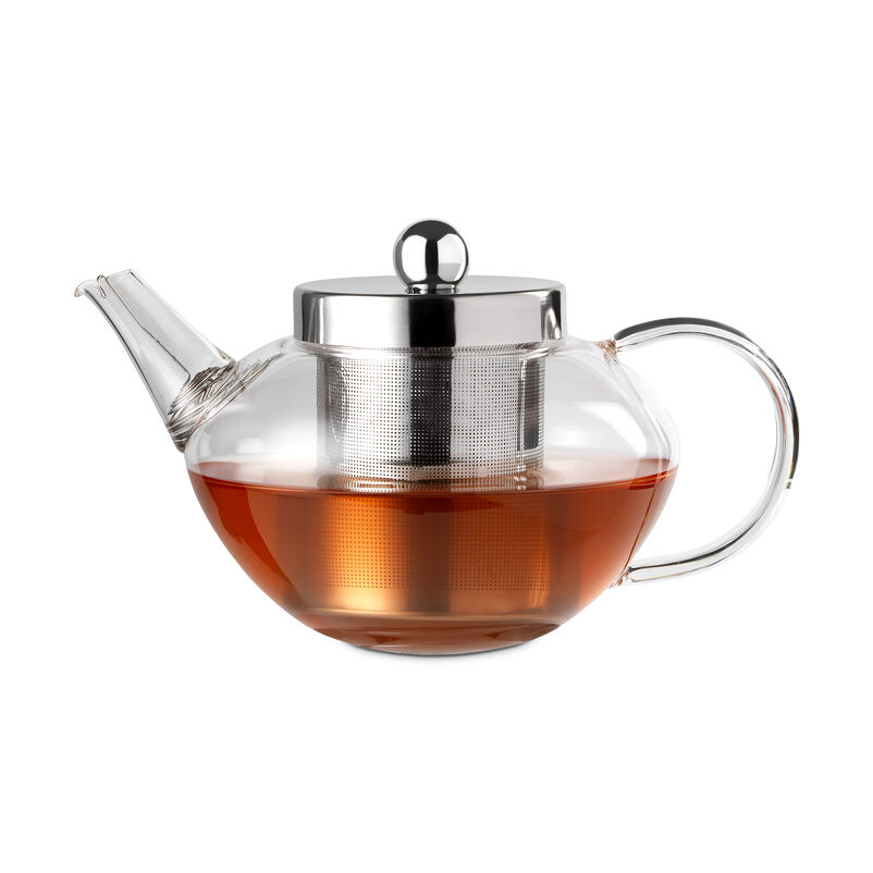 Pimlico Glass Teapot with Infuser with tea inside