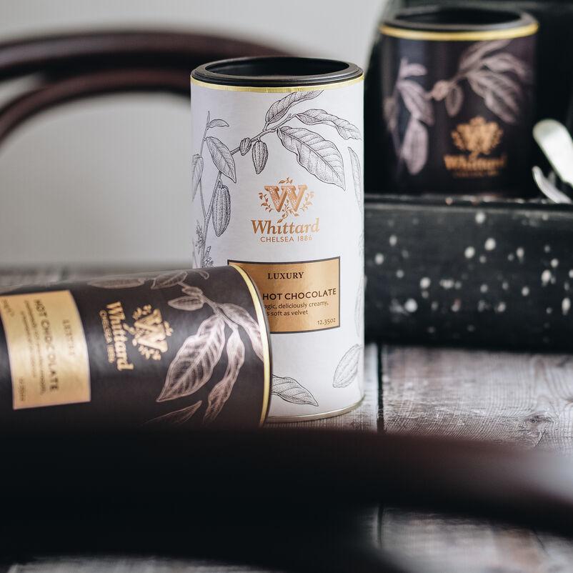Luxury White Hot Chocolate and Luxury Hot Chocolate on side