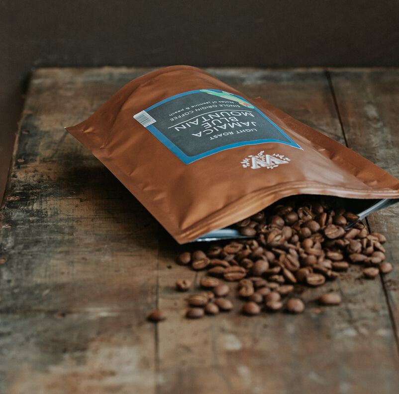 Jamaica Blue Mountain Loose Coffee Pouch with coffee beans