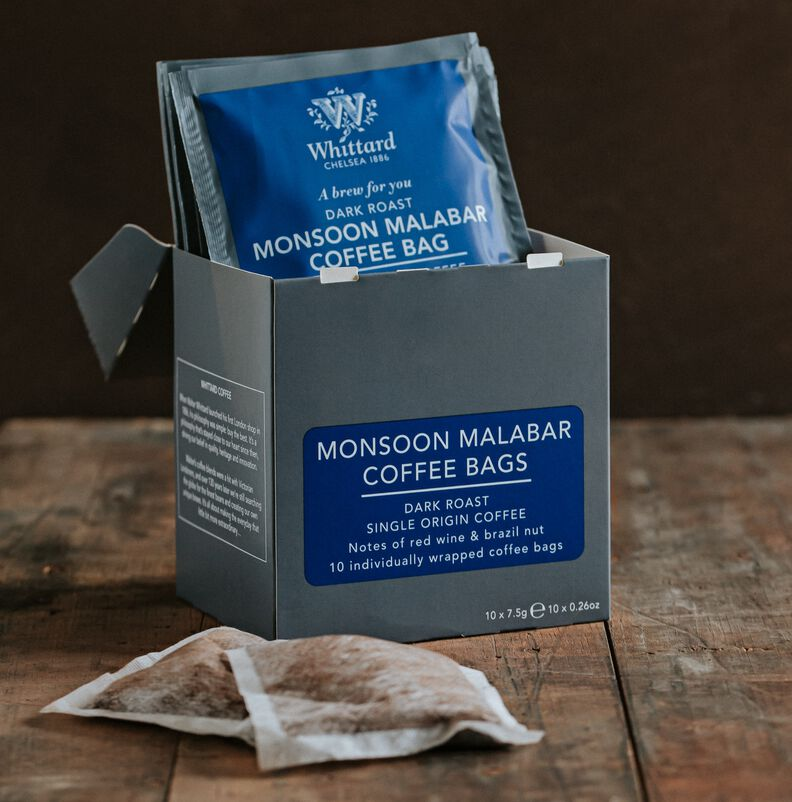 Monsoon Malabar Coffee Bags on table