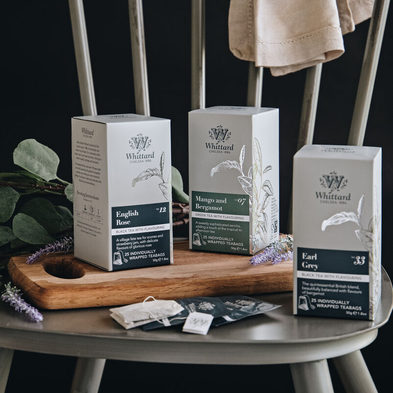 Selection of individually wrapped tea bags