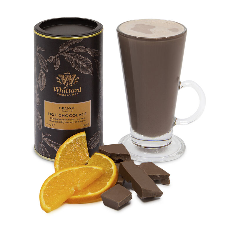 Orange Flavour Hot Chocolate with chocolate chunks and orange segments