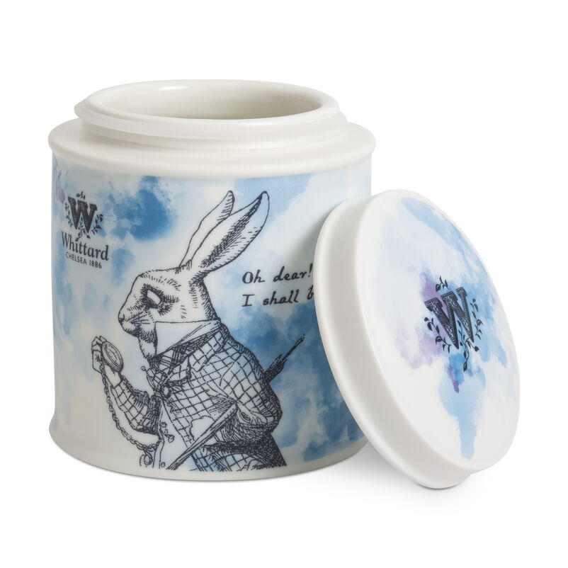 Alice in Wonderland White Rabbit China Tea Caddy