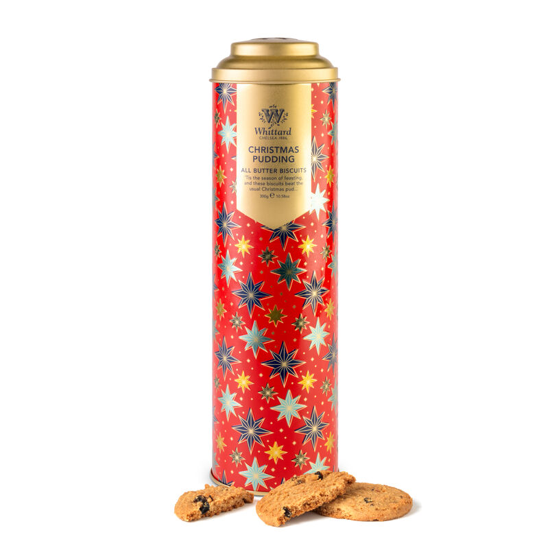 Christmas Pudding Biscuits in tall red tin with biscuits outside