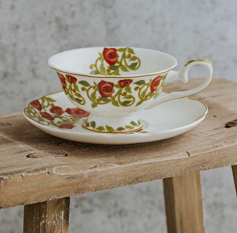 English Rose Tea Discoveries Tea Cup & Saucer