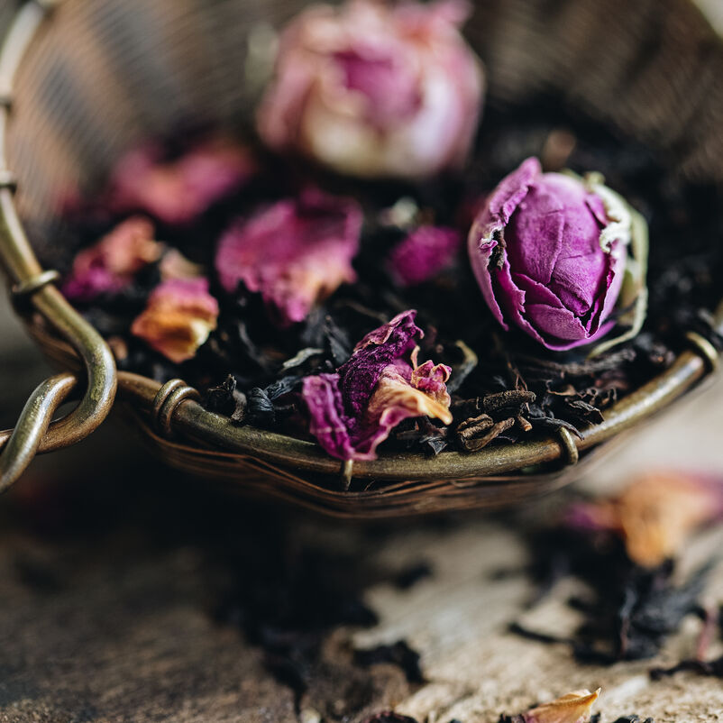 English Rose Loose Tea in an infuser